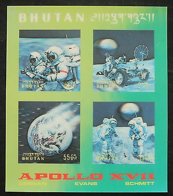 XG-G108 BHUTAN - Space, 1973 Exploration, 3D Apollo Xvii Moonlanding MNH Sheet
