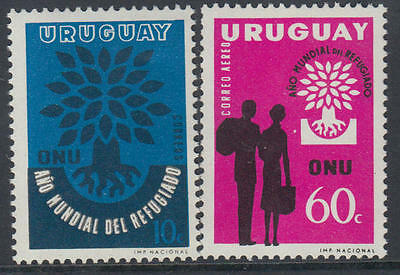 XG-G438 URUGUAY - Refugee Year, 1960 United Nations, 2 Values MNH Set