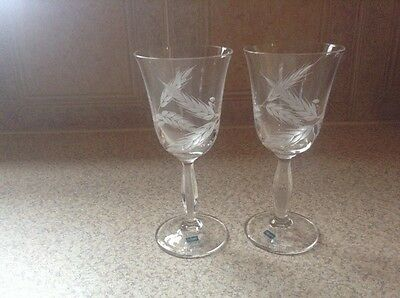 1 Pair Of Caithness Hand Made  Crystal Wine Glasses