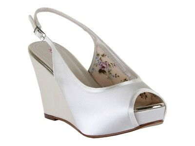 Rainbow Club Loretta Ivory Satin Wedge Women Wedding Shoes UK Size 3-8 RRP65