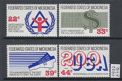 XG-T043 MICRONESIA - Anniversaries And Events, 1987 4 Values MNH Set