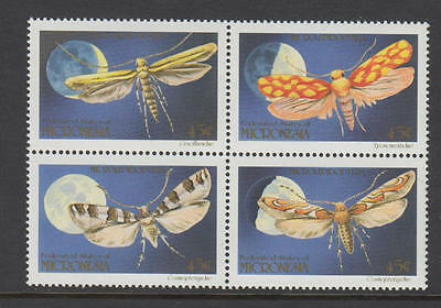 XG-T067 MICRONESIA - Insects, 1990 Moths Block Of 4 MNH Set