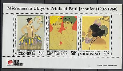 XG-T072 MICRONESIA - Paintings, 1991 Philanippon, Jacoulet MNH Sheet