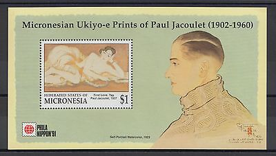 XG-T074 MICRONESIA - Paintings, 1991 Philanippon, Jacoulet MNH Sheet