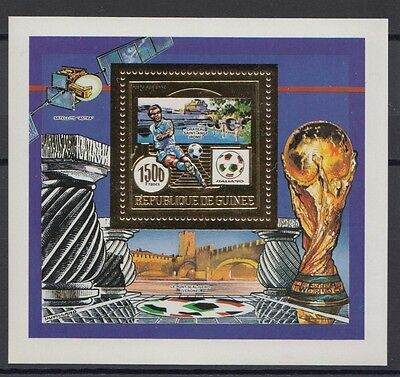 XG-T215 GUINEA - Football, 1990 Italy '90 World Cup Gold Foil MNH Sheet