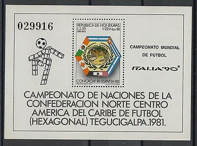 XG-T219 HONDURAS - Football, 1990 Italy '90 World Cup, Concacaf '81 MNH Sheet
