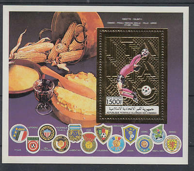 XG-T248 COMOROS IND - Football, 1990 Italy '90 World Cup, Gold Foil MNH Sheet