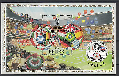 XG-T252 BELIZE - Football, 1986 Mexico World Cup Argentina Winners Ovp MNH Sheet