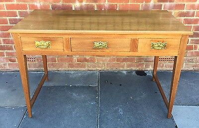 Solid Oak 3 Drawer Desk / Writing Table / Dressing Table