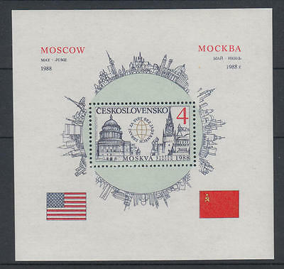 XG-T555 CZECHOSLOVAKIA - Usa, 1988 Reagan Visit To Moscow MNH Sheet