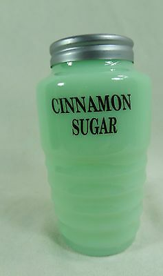 Range Size Ribbed Jadite Cinnamon Sugar Shaker W/Metal Lid Green Milk Glass NEW