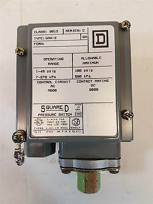 Square D 9012-GAW2 Pressure Switch Series C 1-40 psig 7-276 kPA New