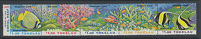 XG-T962 TOKELAU ISLANDS - Fish, 1997 Corals, Marine Life 5 Values Strip MNH Set