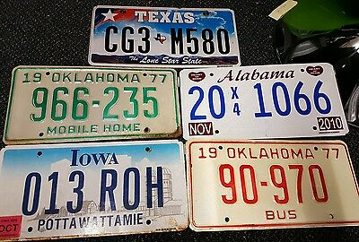 Joblot of 5 Original Old USA Number Plates - American Licence Plate Signs