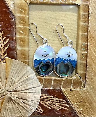 Mexican Sterling Silver Plated Day Landscape Oval Earrings Sea Sun Bird Abalone