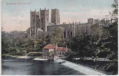 Old postcard of Durham Cathedral from St Oswald's