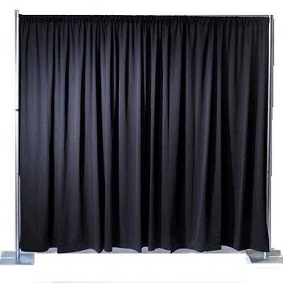 Black Pleated Backdrop For Stage Curtain Drape 3m x 2.6m