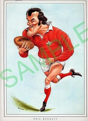 Framed picture Phil Bennett by John Ireland, Rugby