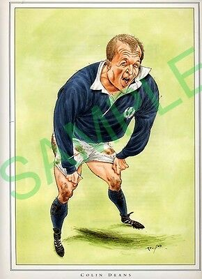Framed picture of Colin Deans by John Ireland, Rugby