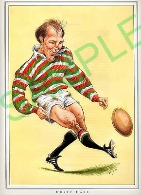 Framed picture of Dusty Hare by John Ireland, Rugby