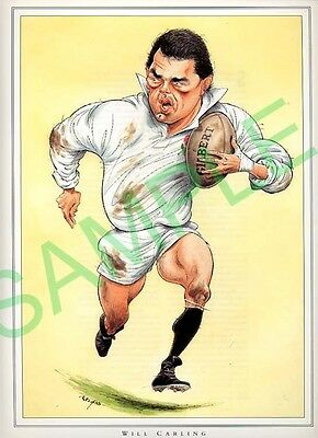 Framed picture Will Carling by John Ireland, Rugby