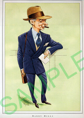 Framed caricature of Barry Hills by John Ireland