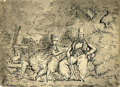 Harold Hope Read - Mid 20th Century Pen and Ink Drawing, Couple in a Garden