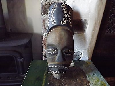 Mask Vintage African Hand Carved Wooden Tribal Art Wall Hanging