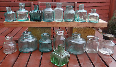 Collection Antique 1880;1910 Victorian & Edwardian Old English Ink Bottles.cute