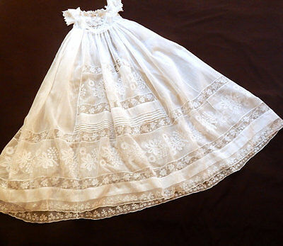 Antique French Handmade Christening Gown with Fine Hand Embroidery and Applique