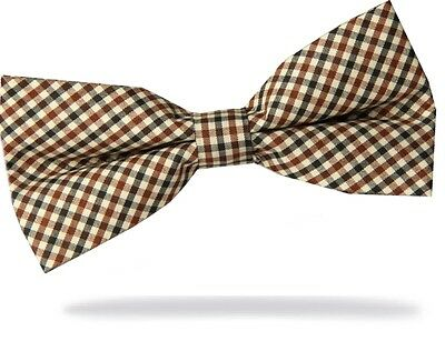 GIFTS FOR MEN Pre-Tied Adjustable Mens Small Check Polyester Bow Tie Blue Brown