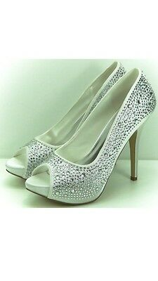 "'Sarah' 5"" Wedding Heel Diamanté Peep Toe Bridal Shoes By Perfect, Ivory Size 4"