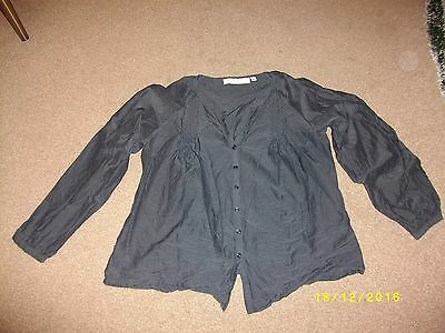 Ladies Charcoal Grey Button Front Long Sleeved Blouse Size 14 from gharani strok
