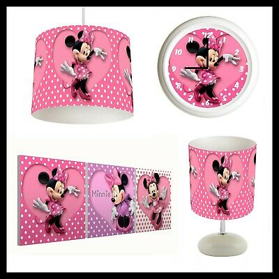 MINNIE MOUSE - Bedroom Bundle Lampshade, Lamp, Clock, Canvas Prints FREE P&P