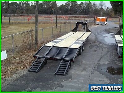 2 carhauler gooseneck 10 ton deckover HD equipment trailer 36ft flat bed 102in