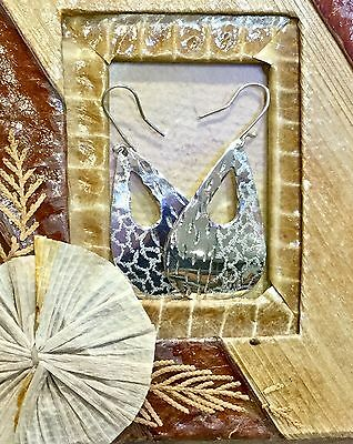 Mexican Earrings Sterling Silver .925 Hammered Teardrop Design Fair Trade New