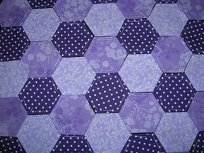 100 Hexagons Purple & Lilac 100% Cotton  For Quilting & Patchwork Pac