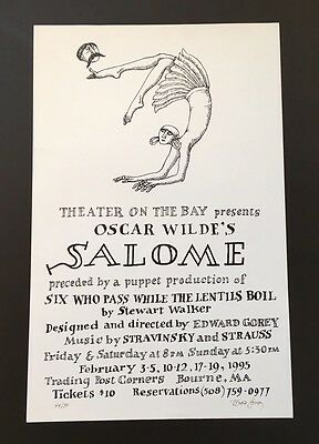Edward Gorey *Salome* poster - LTD ED. - ILLUSTRATED & SIGNED BY GOREY - RARE