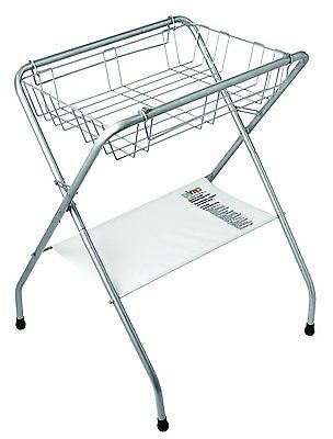 Primo Folding Bath Stand, Silver Gray New