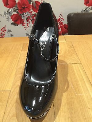 7 Pairs Of Very High Heeled Black Patent Platform Shoes Brand New