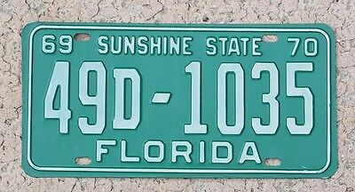 1969 1970 Florida License Plate 1969-70 Tag 49D-1035