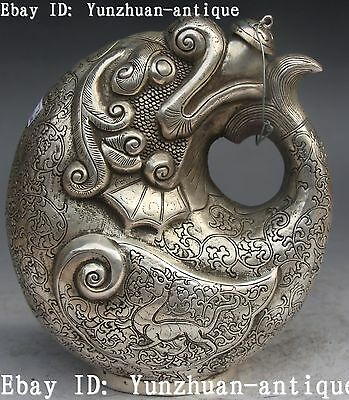 """7"""" Marked Chinese Old Silver Fish Beast Wine Tea Pot Bottle Flagon Jug  Statue"""