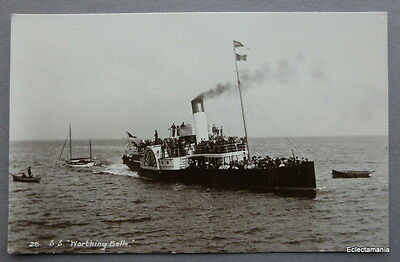 Postcard S.S. Worthing Belle - Paddle Steamer C1910 - The Wells Series RP