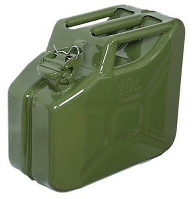 Green Metal Jerry Fuel Can - 10 Litre Capacity