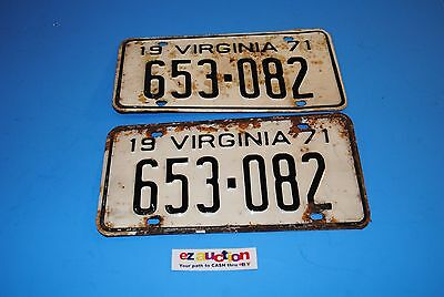 Virginia License Plates - Matched Pair 1971 653-082