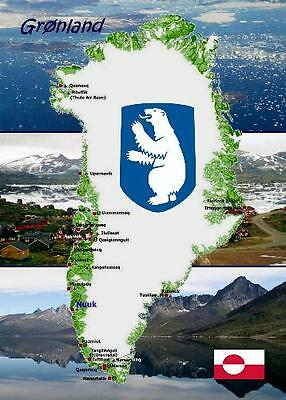 Greenland Country Map New Postcard