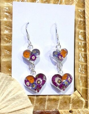 MEXICAN EARRINGS .925 Sterling Silver Pressed Natural Flowers Heart Valentine's