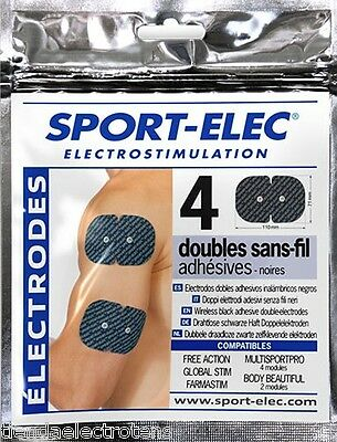 4 Electrodos Sport-Elec rectangulares 110x71mm SNAP