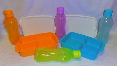 TUPPERWARE LARGE DIVIDED LUNCH BOX &  Eco Bottles (choice of colours & variety)