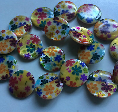 Multi Coloured Double Sided Printed Flat Round Shaped Shell Beads. Size 20mm. 5
